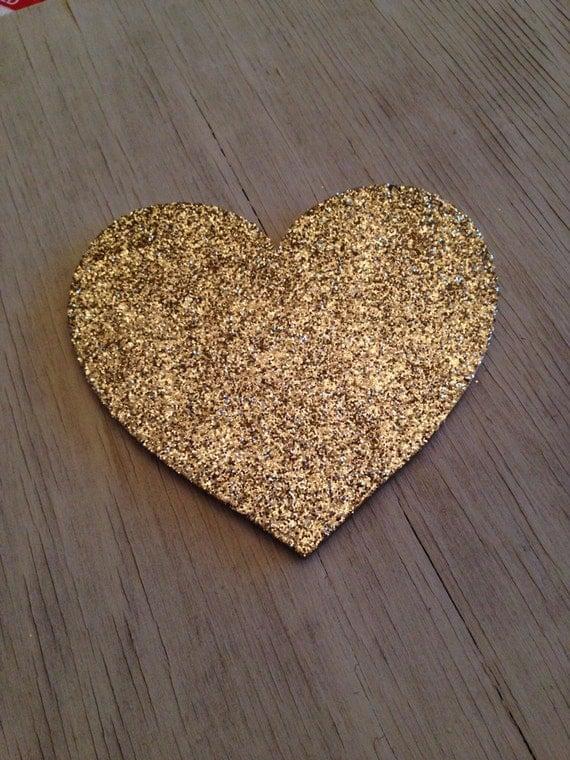 Gold glitter valentine heart decor wall by lettersfromatoz on etsy - Heart wall decoration ...