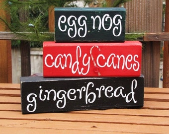egg nog, candy canes and gingerbread blocks