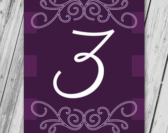 Printable Table Numbers, Wedding Table Numbers, Table Name Cards, Wedding Table Signs, Wedding Table Decor, Wedding Printables - Purple