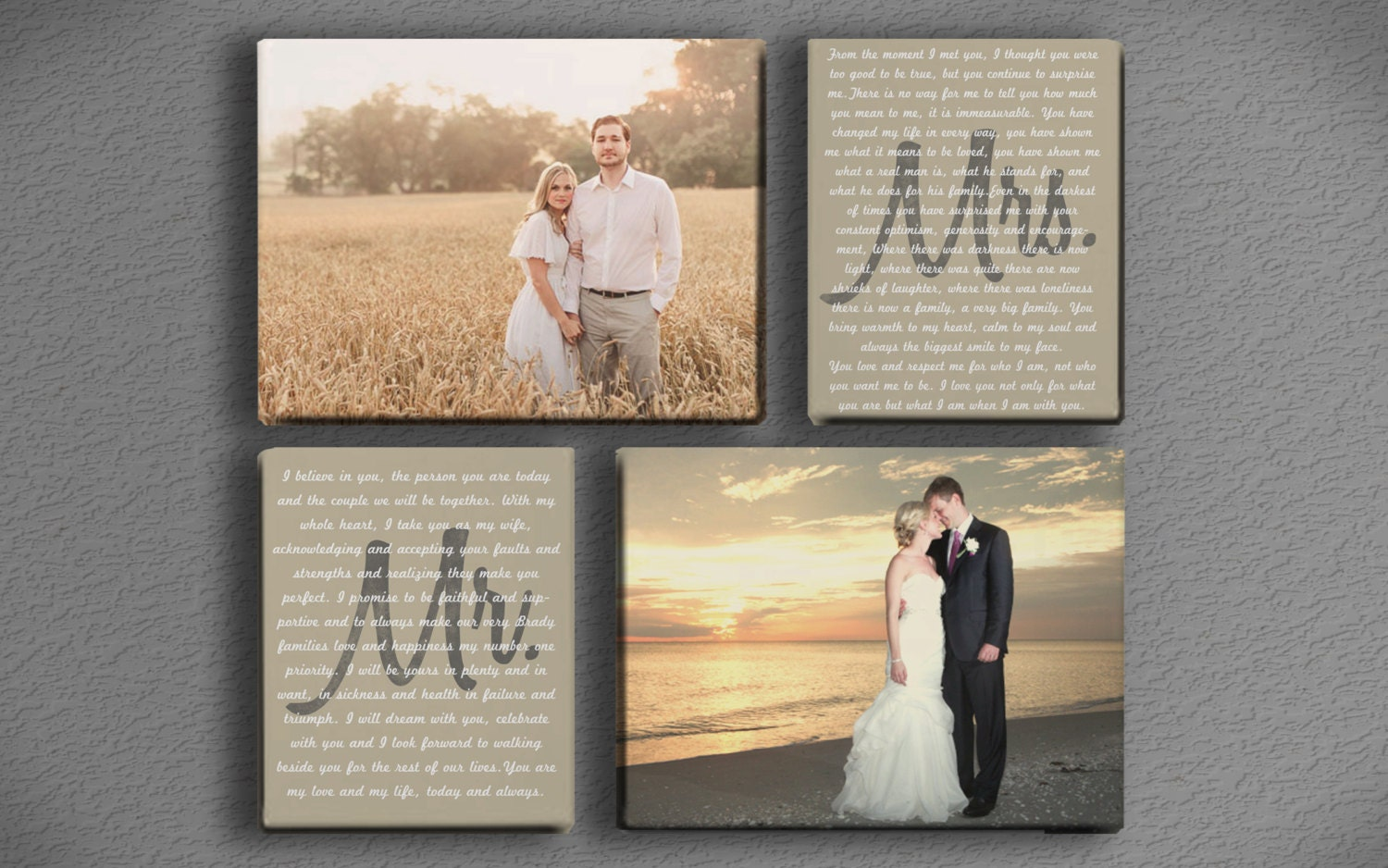 wedding vow art mr and mrs with two photos printed canvas photos