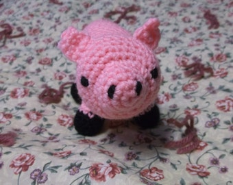 Crochet Amigurmi Pig Toy, Medium Pig, Ready to Ship