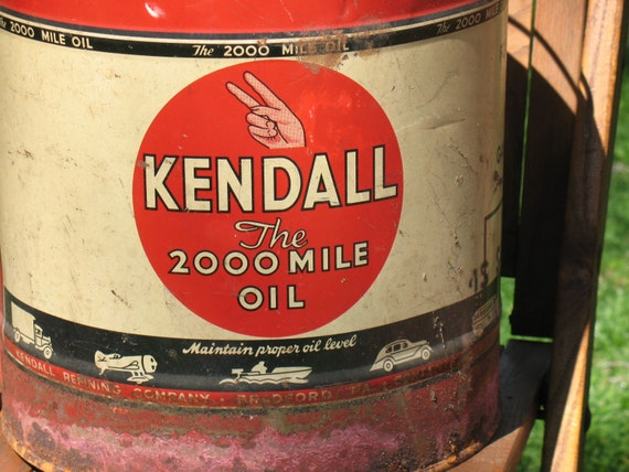 Vintage kendall motor oil can 5 gallon bradford pennsylvania for Kendall motor oil distributors