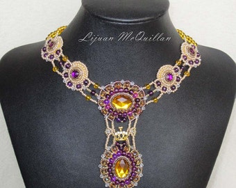 bead embroidery and weaving necklace Golden n purple    EBEG
