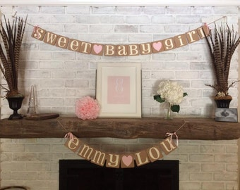Sweet Baby Girl Banner Baby Shower Banner Pregnancy Announcement