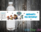 Custom Paw Patrol Party Water Bottle Labels Wraps - Water Resistant -Printed & Shipped