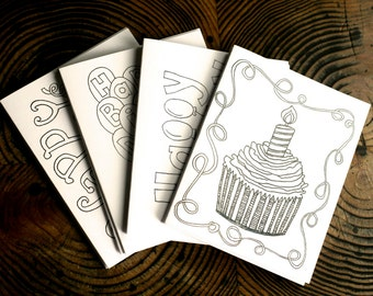 Birthday Coloring Cards, set of 5 printable downloads