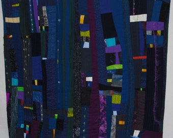 Contemporary wall art, Wall Hanging,small pieces of fabric create a painterly effect with blues,purples contrasting with brights, CityLights