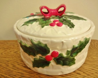 Vintage Lefton White Holly Candy Dish  -  Lefton Exclusives White Holly Lidded Box - Mid Century Christmas Decor