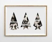 Arrowhead Print Geometric Watercolor Art Minimal Artwork Triangle Print Black and White Print Native American Indian Art Monochrome Prints