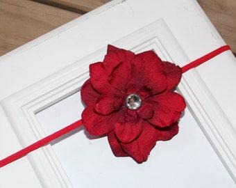 Red Hydrangea Flower Newborn Infant Headband
