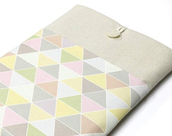 "Pastel Triangles Laptop Cover, 14"" Laptop case, 15"" Laptop Sleeve, Geometry Laptop Case, Padded 13"" Laptop Sleeve case, front pocket case"