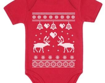 Reindeer & bells Ugly Christmas Sweater baby bodysuit