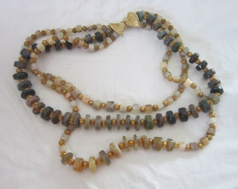 Vintage Wonderful Stone & Gold Bead 3 Strand Bodacious Necklace