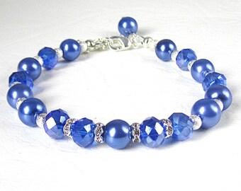 Periwinkle Blue Bracelet, Bridesmaid Jewellery, Blue Pearl Bracelet, Blue Wedding, Bridesmaid Gift, Crystal Jewellery, Cornflower Blue