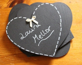 10cm large chalkboard heart for wedding parties table numbers or names
