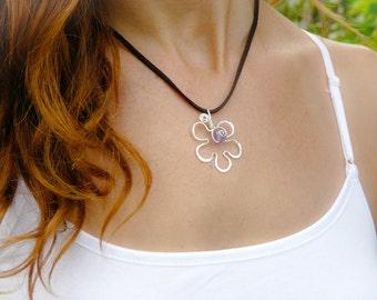 Sterling Silver Flower Pendant Handmade Jewelry Summer Pendant For Her