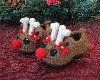 Baby Girl Reindeer Christmas Slippers