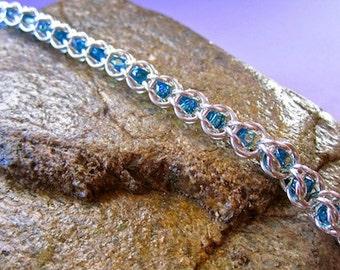 Handmade Sterling Silver Chainmaille Swarovski Crystal Captured Bracelet