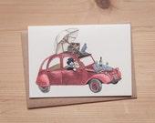 Love in Paris - Citroën 2CV - Folded card - Greeting card - Postcard