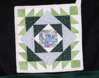 OOAK quilted hot pad in blues and greens