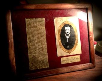 Framed Obituary of Poet, Edgar Allan Poe