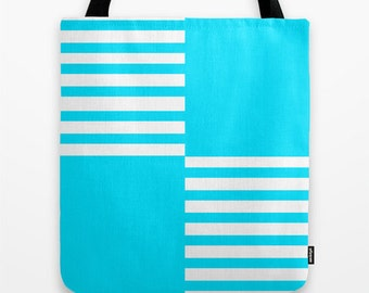 Canvas Tote Bag - Blue Color Block, Women's Tote
