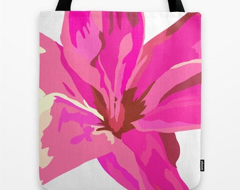 Canvas Tote Bag, Pink Tote, Flower Tote Bag, Tote Bag 16x16 inches