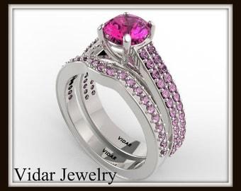 Pink Sapphire Wedding Ring Set,Unique Engagement Ring Set,Sapphire Wedding Ring Set,Double Shank Ring Set,Custom Engagement Ring From Vidar
