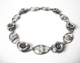 Vintage Beau Sterling Silver Rose Necklace With Leaves