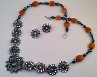 OOAK Freashwater Pearl Fused Glass Orange Flower Beaded Necklace
