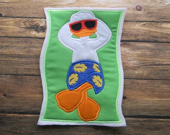 Donald Duck Beach Towel Embroidery Patch ~ Iron On Applique ~ Great for Beach ~ Pool ~ Summer