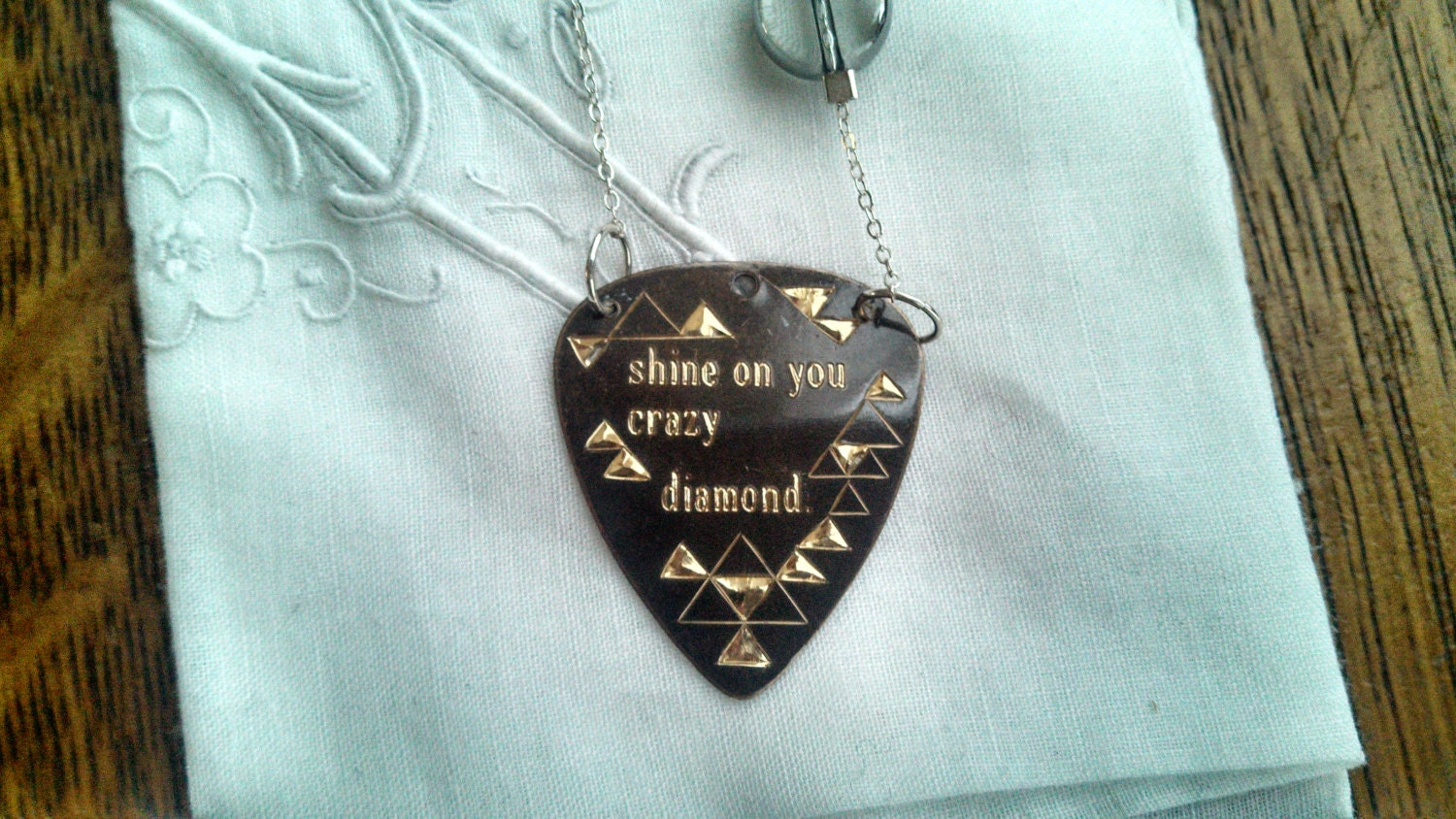 Shine On You Crazy Diamond Guitar Pick Necklace