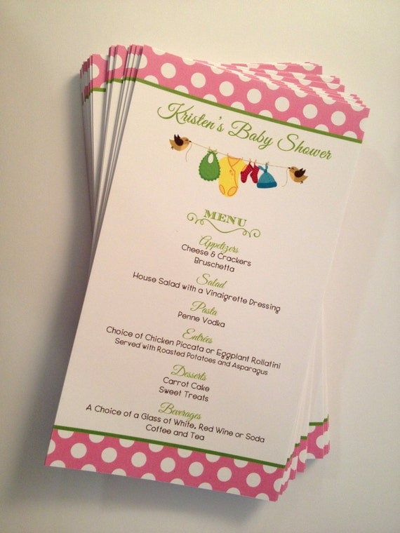 baby shower menu cards printed girl boy or neutral clothesline