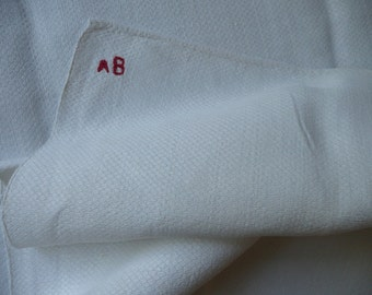 Large french torchon kitchen cloth monogram AB