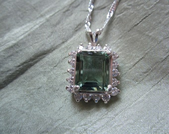 Beautiful Five Carat Green Amethyst Accented with White Sapphires