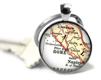 Rome, Italy Map Keychain, Custom Italian key chain, Naples, Florence Personalized Gift, Gift Idea, Italy Keychains, Birthday Gift, A186