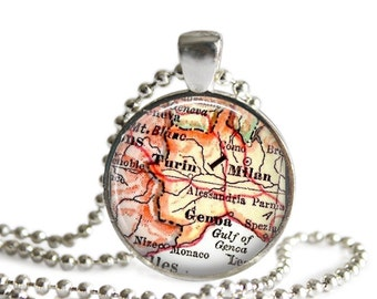 Genoa, Turin, Milan Italy necklace map pendant charm, Italy map necklace, Italian jewelry, available as money clip, cufflink, keychain, A182