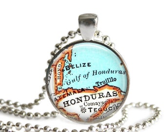 Belize Map necklace pendant charm, Honduras, Central America map jewelry, travel necklace, Caribbean Ornament, Belize keychain, A160