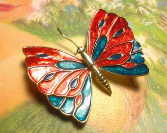 enamel vintage antique costume jewelry brooch pin butterfly rare