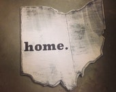 """Wood State//rustic design//""""Ohio""""/hand-crafted State//dark stain, with heart over city//distressed, weathered wood"""