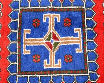 Turkish Tribal Rug with Box Medallians -- 7 ft. by 3 ft. 7 in.