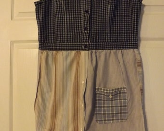 Upcycled Urban Chic Eco Friendly Patchwork Sleeveless Summer Dress (B)