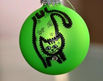 Halloween Black Cat Spring a Green Glass Ball