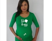 """Maternity Cute St. Patrick's Day """"Baby"""" Maternity Shirt- st patricks shirt, patricks funny shirt, pregnancy clothes"""