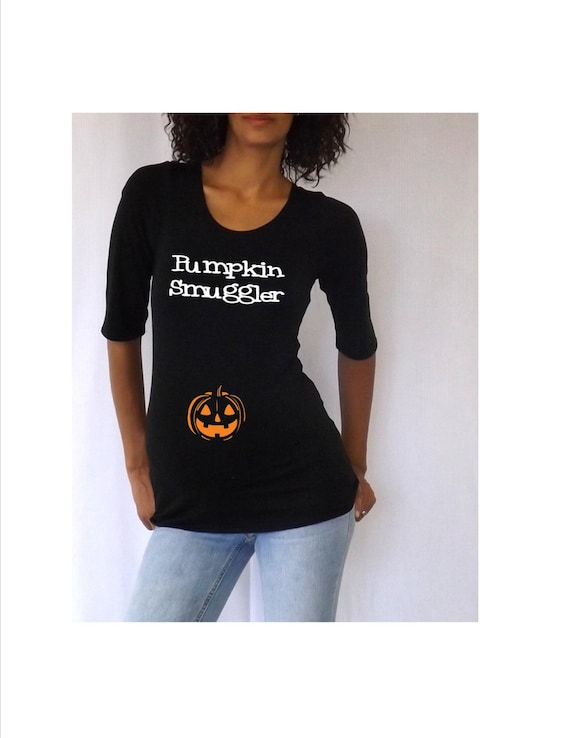 Maternity halloween shirt pumpkin smuggler for Funny christmas maternity t shirts