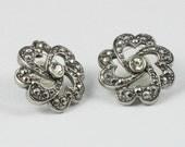 Vintage Avon Faux Marcasite and Rhinestone Pierced Earrings. Faux Marcasite Earrings.  Vintage Avon Earrings