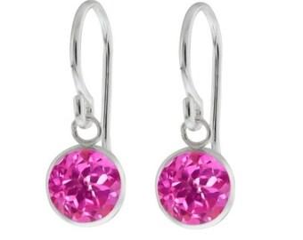 Pink Sapphire Bezel Round Dangle Earrings .925 Sterling Silver Rhodium Finish