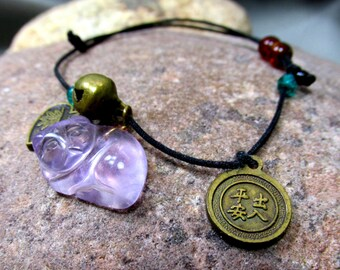 Yin and Yang Adjustable String Anklet or Bracelet, Fluorite Sleeping Cat and Brass Charms