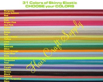 SKINNY ELASTIC - Choose from 31 colors for 5 yards - skinny 1/8 inch elastic