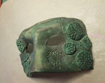 Jade green mask, ooak, handmade, polymer clay, Costume mask, Mardi Gras Mask, one of a kind, Masquerade ball,